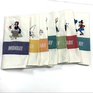Days of week linen hand dish towels embroidered